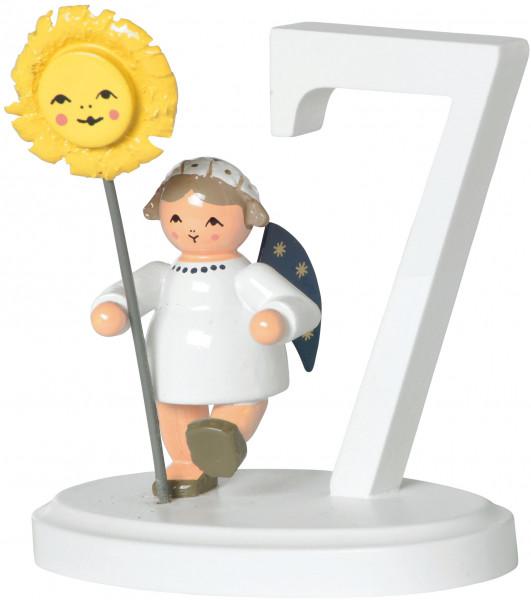 """Zahl """"7""""  mit Engel"""
