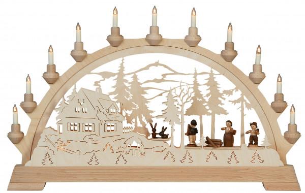 Schwibbogen Forsthaus mit Waldleuten