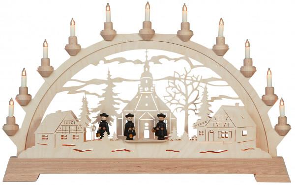 Schwibbogen Seiffener Kirche mit Figuren