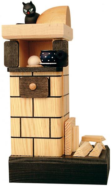 Kachelofen, natur-rauchend, mit Holz
