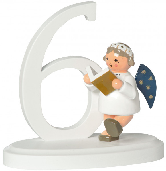 """Zahl """"6""""  mit Engel"""